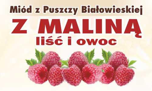 Miód z Puszczy Białowieskiej z maliną (liść i owoc)