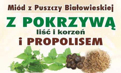 Miód z Puszczy Białowieskiej z pokrzywą (liść i korzeń) i propolisem