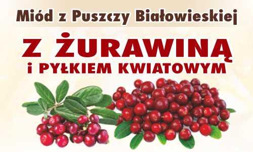 Miód z Puszczy Białowieskiej z żurawiną i pyłkiem kwiatowym