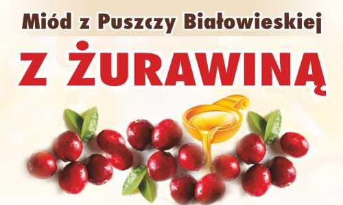 Miód z Puszczy Białowieskiej z żurawiną